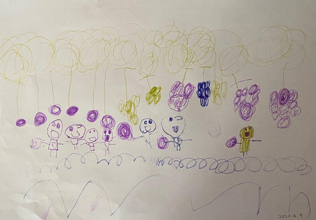 子どもの描いた絵。タイトル「ぶどうの実と、おともだちおる絵」