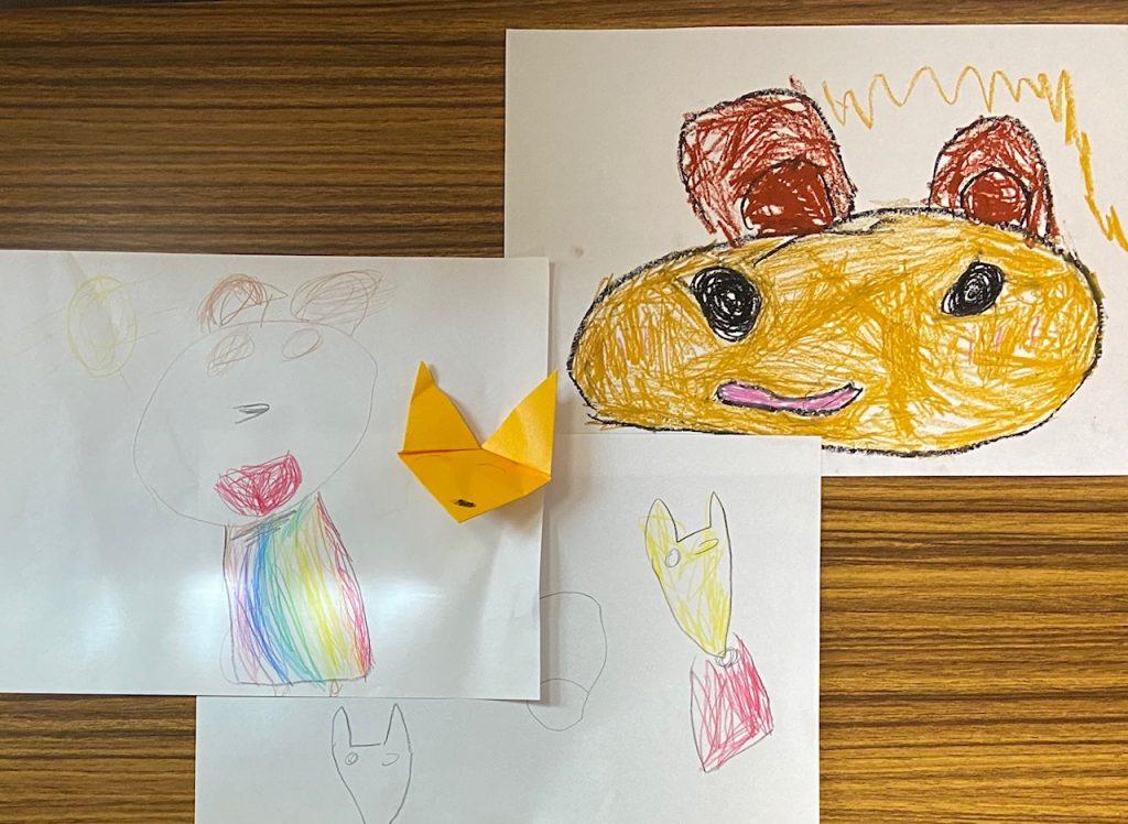 子どもの描いた、動物の絵。